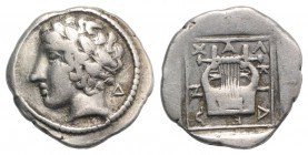 Macedon, Chalkidian League, Olynthos, c. 425-420 BC. AR Tetrobol (14mm, 2.34g, 1h). Laureate head of Apollo l. R/ Kithara within incuse square. Robins...