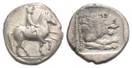 Kings of Macedon, Perdikkas II (451-413 BC). AR Tetrobol (13mm, 2.10g, 3h). Rider on trotting horse r., holding two spears. R/ Forepart of lion r. wit...