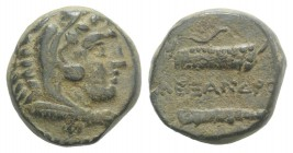 Kings of Macedon. Alexander III 'the Great' (336-323 BC). Æ (15mm, 6.95g, 4h). Uncertain Macedonian mint. Head of Herakles r., wearing lion's skin. R/...