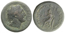 Macedon Koinon, 3rd century AD. Æ (27mm, 14.02g, 2h). Diademed head of Alexander r. R/ Athena Nikephoros enthroned l., holding, nike, spear and shield...