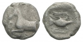 Kings of Thrace, Sparadokos (c. 464-444 BC). AR Diobol (9mm, 1.26g, 8h). Forepart of horse l. R/ Eagle flying l., holding serpent in beak. Topolav 63;...