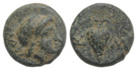 Thrace, Odessos(?). Æ (8mm, 0.90g, 2h). Laureate head of Apollo r. R/ Bunch of grapes. Green patina, VF