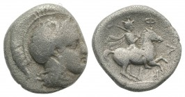 Thessaly, Pharsalos, late 5th-mid 4th century BC. AR Drachm (18mm, 5.57g, 2h). Helmeted head of Athena r. R/ Warrior, holding mace, on horse rearing r...