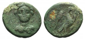 Euboia, Chalkis, c. 245-196 BC. Æ (14mm, 2.71g, 12h). Bust of Hera facing slightly r. R/ Eagle flying r., holding serpent. BCD Euboia 155ff. Green pat...