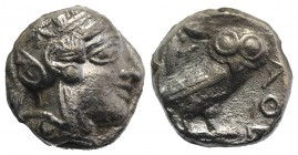 Attica, Athens, c. 454-404 BC. AR Tetradrachm (23mm, 16.61g, 3h). Helmeted head of Athena r. R/ Owl standing r., head facing; olive sprig behind; all ...