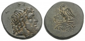 Pontos, Amisos, time of Mithradates VI, c. 85-65 BC. Æ (23mm, 8.40g, 1h). Laureate head of Zeus r. R/ Eagle standing l., head r., on thunderbolt; mono...