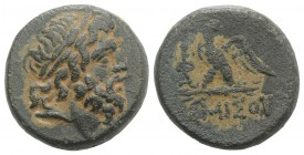 Pontos, Amisos, time of Mithradates VI, c. 85-65 BC. Æ (20mm, 8.74g, 12h). Laureate head of Zeus r. R/ Eagle standing l., head r., on thunderbolt; mon...