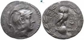 Attica. Athens. ΧΑΡΙ- (Chari-), HPA- (Hera-), magistrates circa 178-177 BC. Tetradrachm AR. New Style coinage. Class II