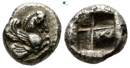 Asia Minor. Uncertain mint or Lampsakos circa 520-500 BC. Pale EL Hekte or AR 1/3 Stater