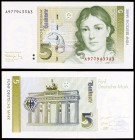 1991. Alemania Occidental. Banco Federal. 5 deutsche mark. (Pick 37). 1 de agosto, Bettina von Arnim. S/C.