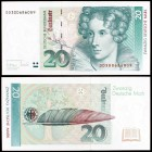 1993.Alemania Occidental. Alemania Occidental. Banco Federal. 20 deutsche mark. (Pick 39b). 1 de octubre, Annette von Droste-Hülshoff. S/C.