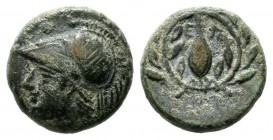 Aeolis, Elaia. Circa 340-300 BC. AE (11mm, 1.41g). Helmeted head of Athena left / E-Λ, corn grain in olive wreath, AΛ below. SNG München 386; SNG Cope...