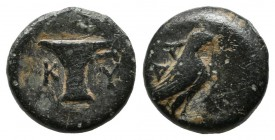 Aeolis, Kyme. Circa 350-250 BC. AE (11mm, 1.34g). Eagle standing right, ΔA behind. / KY, One-handled cup left. SNG Copenhagen 41-45 var. (magistrate)