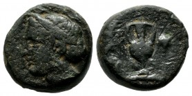 Aeolis, Larissa Phrikonis. 4th century BC. AE (16mm, 5.57g). Female head left, hair bound in sphendone / Amphora; caduceus to left, grape bunch to rig...