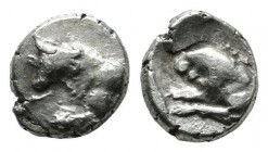 Asia Minor (Caria?), uncertain mint. Circa 6th-5th centuries BC. AR Hemiobol (6mm, 0.42g). Forepart of a bull left, head slightly facing. / Forepart o...