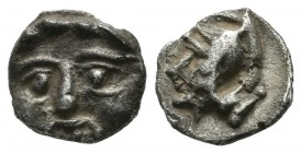 Asia Minor, uncertain. 5th century BC. AR Obol (10mm, 0.87g). Facing gorgoneion / Uncertain.