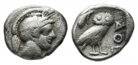 Attica, Athens. Circa 480-460 BC. AR Obol (9mm, 0.64g). Helmeted head of Athena right / Owl standing right, head facing, olive sprig behind, AΘE to ri...