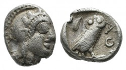 Attica, Athens. Circa 480-460 BC. AR Obol (9mm, 0.65g). Helmeted head of Athena right / Owl standing right, head facing, olive sprig behind, AΘE to ri...