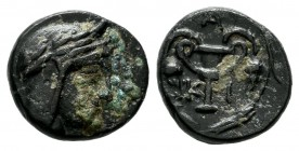 Bithynia, Kios. Circa 300 BC. AE (11mm, 1.29g). Head of Mithras right, wearing a laureate tiara. / KI, kantharos with two grape vines; all within grai...