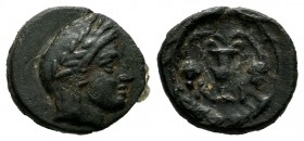 Bithynia, Kios. Circa 325-300 BC. AE (12mm, 1.18g). Head of Mithras right, in a laureate tiara / K-I-A, kantharos with two grape vines; within wreath ...