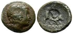 Caria, Alabanda. Circa 167-100 BC. AE (17mm, 5.05g). Laureate head of Apollo right. / [AΛAΒAN]ΔEΩN. Humped Zebu bull butting right; c/m: oval incuse....
