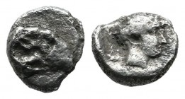 Caria, Kasolaba. Circa 400-300 BC. AR Hemiobol (7mm, 0.37g). Head of ram right / Young male head right, Carian letter to left and right. Klein 496-8 (...