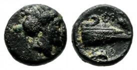 Caria, Knidos. Circa 375-340 BC. AE (8mm, 1.01g). Head of Aphrodite right / KNI. Prow left; below, dolphin swimming right. SNG von Aulock -; SNG Copen...