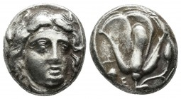 Caria, Rhodes. Circa 4th century BC. AR Didrachm (16mm, 6.80g). Head of Helios facing slightly right / ΡΟΔΙΩΝ. Rose with bud to right; grape bunch and...