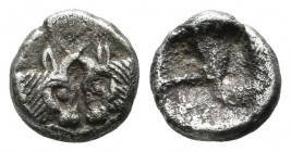 Caria, Uncertain. 5th century BC. AR Hemiobol (7mm, 0.58g). Foreparts of two confronted bulls, with horns intertwined / Incuse punch. very fine SNG Ke...