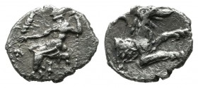 Cilicia, Laranda. Circa 324-323 BC. AR Obol (8mm, 0.44g). Baaltars seated left, holding grain ear, grape bunch, and sceptre, all within circular doubl...