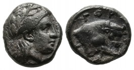 Crete, Gortyna. Circa 4th century BC. AR Drachm (13mm, 3.18g). Laureate head of Apollo right / ΓOΡ above bull butting right, head facing. Unpublished ...