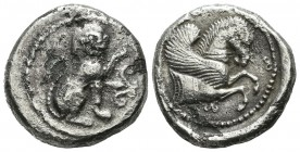Dynasts Of Lycia. Uncertain. Circa 500-470 BC. AR Stater (21mm, 8.69g). Lion seated right, left forepaw raised; floral pattern before / Forepart of Pe...