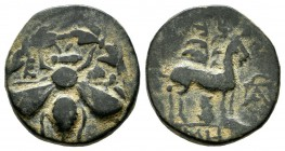 Ionia, Ephesos, Circa 202-133 BC. Apollonios, magistrate. AE (16mm, 3.59g). Ε - Φ. Bee within wreath / ΑΠΟΛΛΩΝΙΟΣ. Stag standing right; in background,...