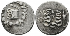 Ionia, Ephesos. Circa 132-67 BC. AR Cistophoric Tetradrachm (25mm, 12.54g). Year 52 (82/81 BC). Serpent crawling from cista mystica; all within ivy wr...