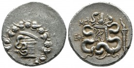 Ionia, Ephesos. Circa 1st. century BC. AR Cistophoric Tetradrachm (30mm, 12.59g). Serpent crawling from cista mystica; all within ivy wreath. / ΕΦΕ, T...