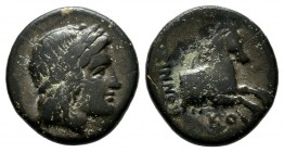 Ionia, Kolophon, Circa 360-330 BC. AE Chalkous (13mm, 2.06g). Leodamas, magistrate. Laureate head of Apollo right / Forepart of horse right. SNG Copen...