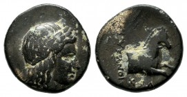 Ionia, Kolophon. Circa 360-330 BC. AE (13mm, 2.04g). Dionysodoros, magistrate. Laureate head of Apollo right / ΔIONYΣOΔOPOΣ / KOΛ. Forepart of horse r...