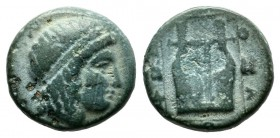 Ionia, Kolophon. Circa 400-375 BC. AE (11mm, 1.51g). Head of Apollo right, wearing tainia / KOΛ. Kithara, within linear border. BMC 14.