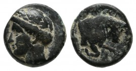 Ionia, Magnesia ad Maeander. Circa 350-190 BC. AE (10mm, 1.50g). Laureate head of Apollo left / Forepart of bull right. BMC Ionia p. 160, 17 var.; SNG...