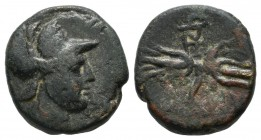 Ionia, Metropolis. Late 2nd century BC. AE (15mm, 3.54g). Helmeted head of Ares right. / Thyrsos and thunderbolt; monogram above. Imhoof-Blumer, MG 29...
