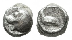 Ionia, Miletos. Circa 600-500 BC. AR Tetartemorion (5mm, 0.21g). Head of a roaring lion left / Bird standing left within incuse square. Klein 430; SNG...