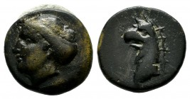 Ionia, Phokaia. Circa 300 BC. AE (13mm, 2.06g). Female head (Aphrodite?) left, with hair in sphendone / Head of griffin left. SNG von Aulock 2135; SNG...