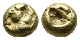 Ionia, Uncertain mint. Circa 650-600 BC. EL Twelfth Stater - Hemihekte (6mm, 1.46g). Milesian standard. Geometric type. Uncertain design, typeless sur...