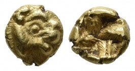 Ionia, Uncertain. Circa 600-550 BC. EL (6mm, 0.61g). Phokaic standard. Head of lion right / Incuse square. Traité I 189; Rosen 328; SNG von Aulock 177...