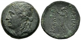 Kings of Bithynia. Prusias I Chloros, 230-182 BC. AE (27mm, 10.74g). Laureate head of Apollo left. / ΒΑΣΙΛΕΩΣ - ΠΡΟΥΣΙΟΥ, Nike in long chiton standing...
