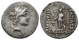 Kings of Cappadocia. Ariarathes VIII Eusebes Epiphanes. Circa 100-98/5 BC. AR Drachm (18mm, 3.96g). Eusebeia under Mt. Tauros mint. Dated RY 2 (99/8 B...
