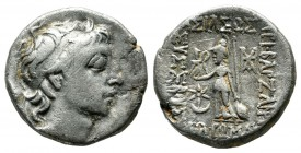 Kings of Cappadocia. Ariobarzanes III Eusebes Philoromaios, 52-42 BC. AR Drachm (16mm, 3.83g). Mint A (Eusebeia under Mt. Argaios). Dated RY 9 (44/3 B...