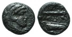 "Kings of Macedon. Alexander III ""the Great"" 336-323 BC. AE 1/4 Unit (10mm, 1.11g). Uncertain mint. Head of Herakles right, wearing lion skin / ΑΛΕΞΑΝΔ..."