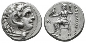 "Kings of Macedon. Alexander III ""the Great"" 336-323 BC. AR Drachm (16mm, 4.23g). Kolophon mint. Head of Herakles to right, wearing lion skin headdress..."