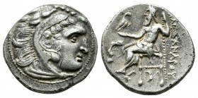 "Kings of Macedon. Alexander III ""the Great"" AR Drachm (18mm, 4.33g). Uncertain mint in western Asia Minor (Kolophon?). Circa 310-301 BC. Head of Herak..."